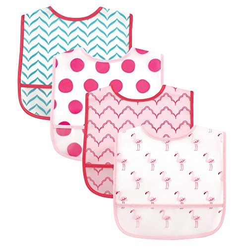- Luvable Friends 4 Piece Waterproof Bibs with Crumb Catcher, Flamingos