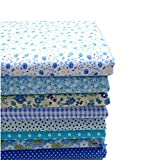 cloth material for sewing - KINGSO 8PCS Cotton Fabric Bundles Quilting Sewing Patchwork Cloths DIY Craft 19.7x19.7inch Blue Series