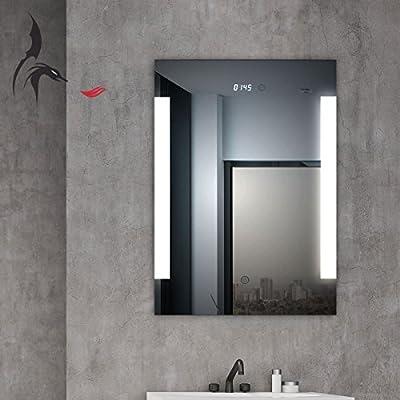 Espejo de baño led iluminado, con reloj digital integrado, Augsburg, 50 x 70 cm, espejo para cuarto de baño con iluminación lateral, clase energética A +: Amazon.es: Bricolaje y herramientas