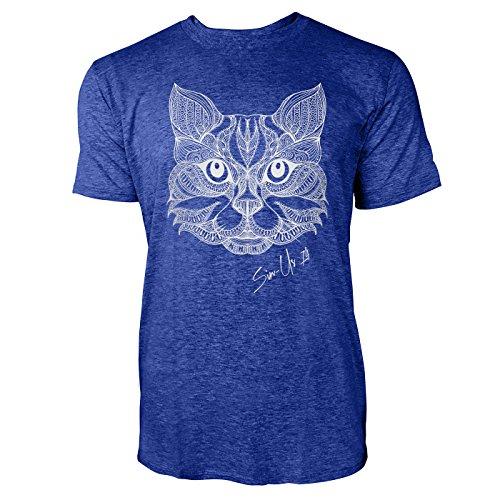 SINUS ART ® Detaillierte Zeichnung von Katzenkopf Herren T-Shirts in Vintage Blau Cooles Fun Shirt mit tollen Aufdruck
