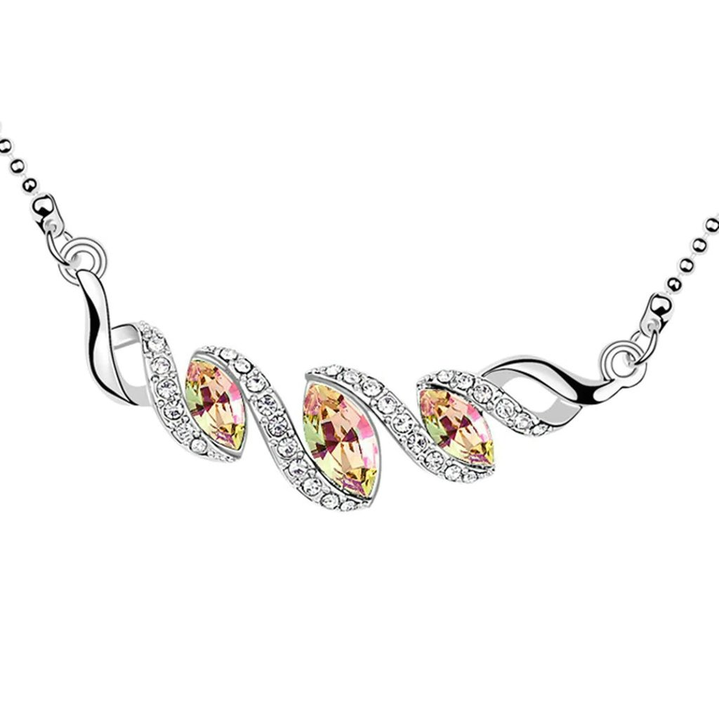 Daesar Gold Plated Womens Teardrop Necklace Rhinestone CZ Pendant Necklace for Women