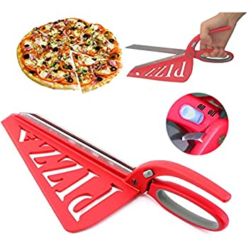 Pizza Scissors, Detachable Stainless Steel Pizza Cutter Spring Scissors Shovel with Spatula and Safety Removable Switch Red 13 Inch by Home Papa