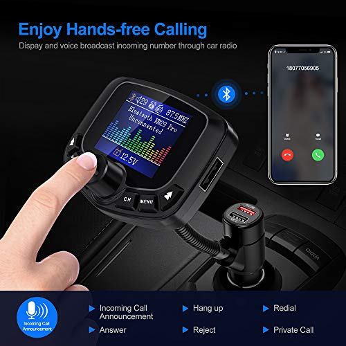 Nulaxy Bluetooth FM Transmitter for Car, Auto Search FM Blank Channel Bluetooth Car Adapter with QC3.0& 5V/2.4A Charging, Support USB Flash Drive, microSD, Aux, EQ, Wireless Handsfree Car Kit -KM29Pro