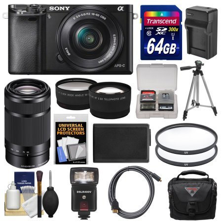 Sony Alpha A6000 Wi-Fi Digital Camera & 16-50mm & 55-210mm Lens with 64GB Card + Case + Flash + Battery/Charger + Tripod Kit .Model: ILCE6000L/B-81537-Kit