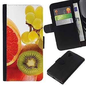Stuss Case / Funda Carcasa PU de Cuero - Fruta Kiwi Macro de uva - LG Nexus 5 D820 D821