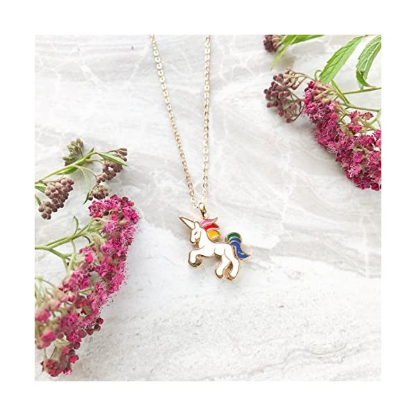 Altitude Boutique Unicorn Necklace Magical Pendant Gift for Girls or for Women Gold Silver Colorful Enamel 6