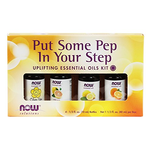 Now Essential Oils, Put Some Pep in Your Step Uplifting Aromatherapy Kit, 4x10ml Including Orange Oil, Lemon Oil, Grapefruit Oil and Cheer Up Buttercup! Oil Blend