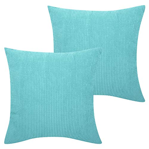 Lewondr Corduroy Throw Pillow Case, Square Solid Cushion Cover Set of 2 Corn Striped Corduroy Velvet Throw Pillow Cover Cosy Home Chair Seat Sofa Decor 18 x 18 Inch - Sky Blue