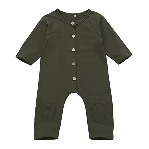 daa9a519207d8 Infant Baby Boy Girl Long Sleeve Romper Jumpsuit with Bottons Playsuit Outfit  Clothes (0-