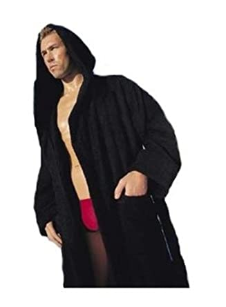 2dfd39159bd34 Hooded Terry Bathrobe. 9 Colors Available. Robe Weight 3lb (Black) at  Amazon Men's Clothing store: Black Robe Terry Bath