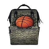 WOZO Basketball Embedded in Brick Wall Multi-function Diaper Bags Backpack Travel Bag