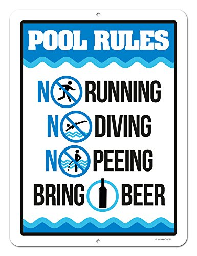 Honey Dew Gifts Funny Pool Sign, Pool Rules Bring Beer, 9 x 12 inch Pool Signs and Decor -