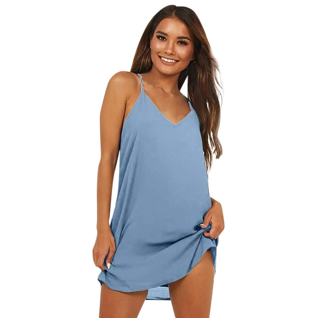 BAOHOKE Women's Loose Casual V Neck Halter Sling Dress,Summer Sleeveless Solid Color A-Line Mini Dresses(Sky Blue,L)