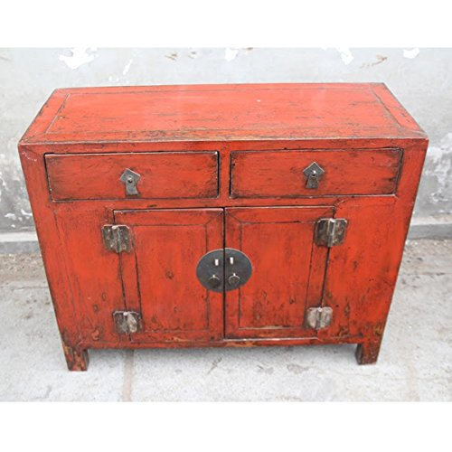 (Antique Red Lacquer Entry Table)