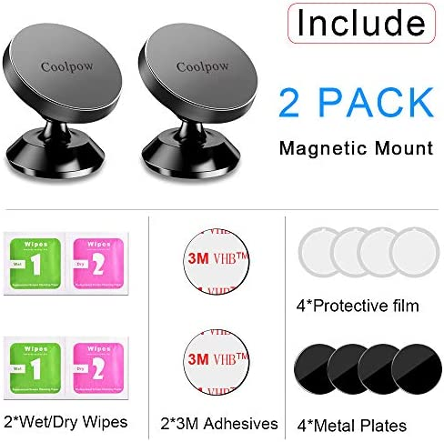 [ 2 Pack ] Magnetic Phone Mount, [ Super Strong Magnet ] [ with 4 Metal Plate ] car Magnetic Phone Holder, [ 360° Rotation ] Universal Dashboard car Mount Fits iPhone Samsung etc Most Smartphones 51iJdqDawEL