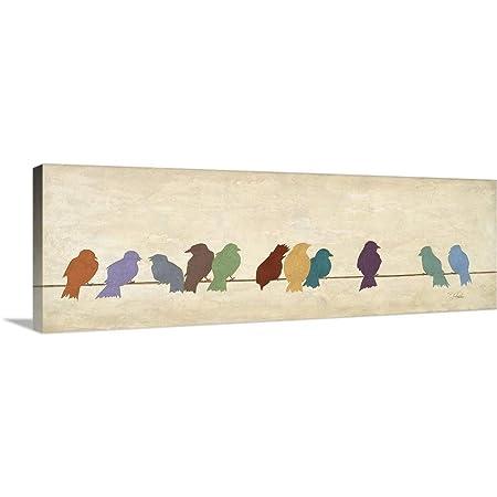 Birds Meeting Canvas Wall Art Print, 60 x20 x1.25