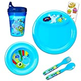 Monster's Inc Toddler Dinnerware Set - 6pc Mosters Inc Dinner Set with Plate, Bowl, Fork, Spoon, Sippy Cup, and Stickers (Monster's Inc. Dinnerware)
