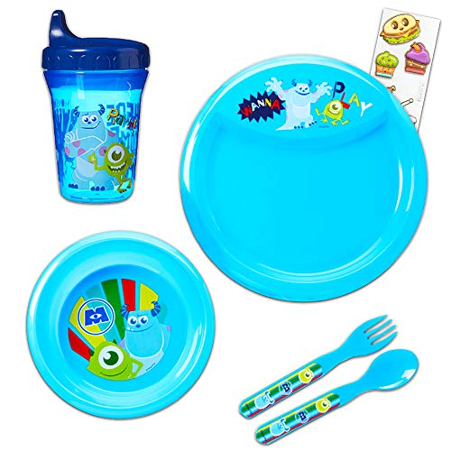 r Dinnerware Set - 6pc Mosters Inc Dinner Set with Plate, Bowl, Fork, Spoon, Sippy Cup, and Stickers (Monster's Inc. Dinnerware) ()