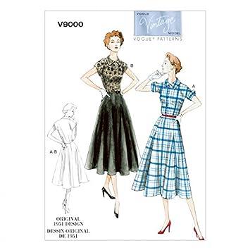 Vogue Vintage Model Schnittmuster 9000 Kleid & Gürtel Größen: 16–18 ...
