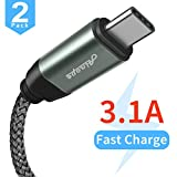 #8: USB 3.0 Type C Cable [2 PACK],3.1A USB C Fast Charger,Braided Armor Nylon Charging Cable,Durable Cord for Samsung Galaxy S9 S8 Plus Note 8,LG V20 V30 G5 G6,Google Pixel XL,Nexus 5X/6P,Nintendo Switch