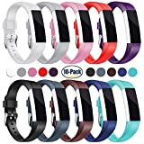 For Fitbit Alta HR and Alta Bands, Konikit Soft Adjustable Replacement Band Accessory with Secure Watch Clasps for Fitbit Alta and Alta HR, Pack of 10
