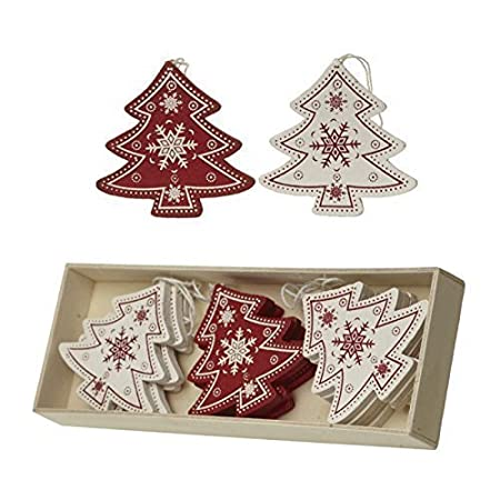 box of 12 traditional vintage style redcream wooden christmas tree shaped christmas tree decorations
