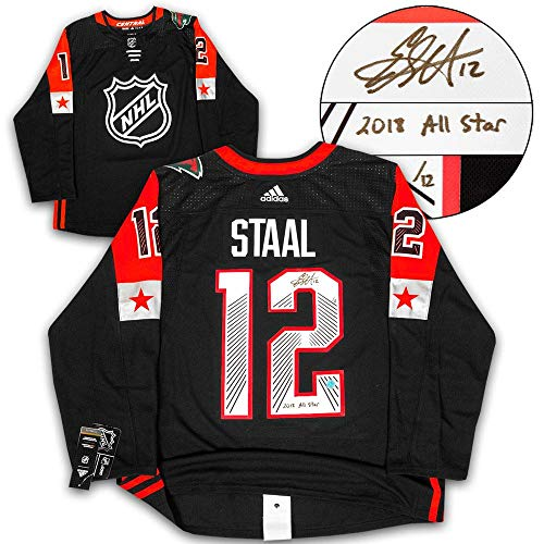 (Signed Eric Staal Jersey - 2018 All Star Game Adidas 2018 All Star Note #/12 - Autographed NHL Jerseys)