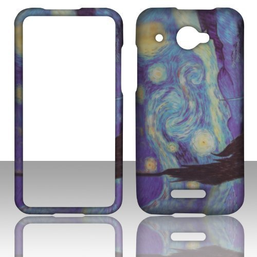 2D Blue Design HTC DROID DNA 4G LTE X920E Verizon Hard Case Snap-on Hard Shell Protector Cover Phone Hard Case Case Cover Faceplates