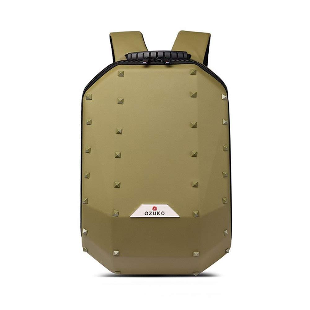 ヨーロッパとアメリカ大容量の旅行バックパック/リベットショルダーバッグ男性人格コンピューターバックパック スポーツバックパック (色 : 黄) 黄
