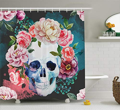 Ambesonne Skulls Decorations Collection, Big Flowers and Skull Design Skeletons All Saints Day Halloween Image, Polyester Fabric Bathroom Shower Curtain Set with Hooks, Soft Purple Pink Green