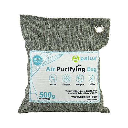 APALUS Natural Air Purifying Bag. Odor Eliminator for Cars, Closets, Bathrooms and Pet Areas. Captures and Eliminates Odors. Charcoal Color, 500G