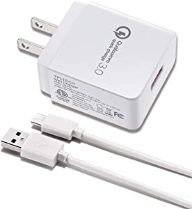 TPLTECH Quick Charge 3.0 Fast Wall Charger for TracFone LG Rebel 4 LTE L212VL/L211BL/237C/530G/Power L22C/Ultimate,LG G3 G4 V10 K10,Phoenix 2 K350N 3 4/K4,LG Rebel 2 X210/Rebel 3 L158VL Micro USB Cord