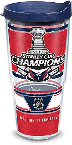 Nationals Washington Tumbler - Tervis 1304650 NHL Washington Capitals 2018 Stanley Cup Champions Insulated Tumbler with Wrap and Navy Lid 24 oz Clear
