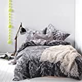 Wake In Cloud - Dark Gray Comforter Set King, 3-Piece White Modern Pattern Printed on Grey, 100% Cotton Fabric with Soft Microfiber Inner Fill Bedding (3pcs, King Size)