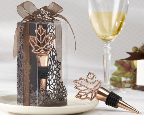 "132 ""Lustrous Leaf"" Copper-Finish Bottle Stoppers in Laser-Cut Leaf Gift Box"