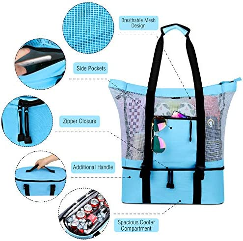 FITFORT Mesh Beach Tote Bag with Detachable Beach Cooler - MAX Capacity 34L 150lbs Ultra Durable for Women