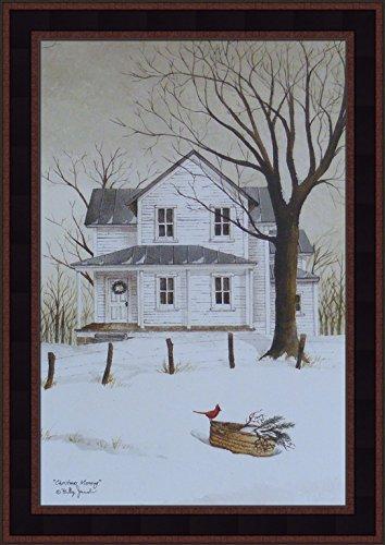 Christmas Morning by Billy Jacobs 15x21 Snow Winter Holiday Season Cardinal White Farm House Primitive Folk Art Print Framed (Folk Art Farm)
