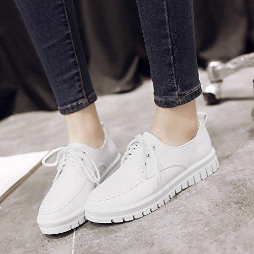 Mee Shoes Damen flach Geschlossen Schnürhalbschuhe Weiß