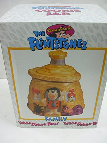 Flinstone Family Rock House with Fred - Wilma and Pebbles - Cookie Jar Certified International Corp Hanna -
