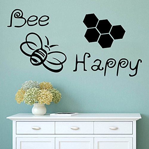 Poieloi Cute Bee Happy Bumble Bee Decal Bedroom Wall Decal