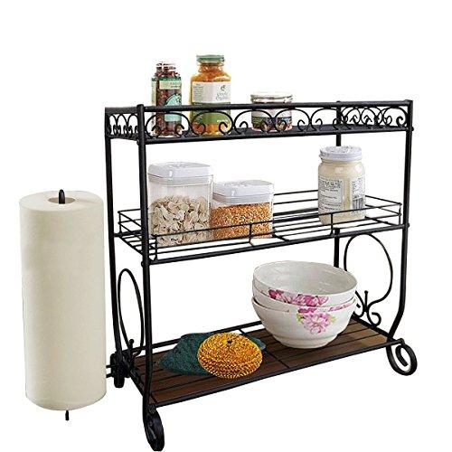 VANRA 3 Tier Spice Rack Kitchen Spice Stand Holder Jars Storage Organizer Shelf Rack with Tissue Dispenser Rack/Bathroom Paper Towel Holder & Towel Bar (Black) (Bar 18' Rack)