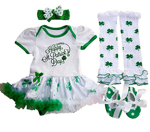 AISHIONY Baby Girls 4PCS 1st St. Patricks' Day Tutu Shoes Outfit Newborn Party Dress S White Green