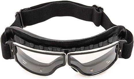 Evomosa Motorradbrille Pu Leder Sonnenbrillen Sportbrille Retro Radbrille Für Atv Bike Motocross Brille Schutzbrille Schwarze B Auto