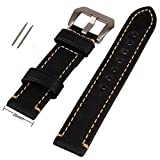 20mm Black Genuine Leather Watchband Stainless Buckle Watch Wristwatch Band