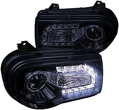 LED Strip Projector Headlights Left+Right 2005-2010 Chrysler 300C Black