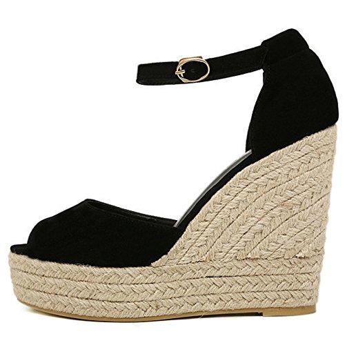 COOLCEPT Damen Mode Knochelriemchen Sandalen peep Toe Keilabsatz Plateau Schuhe Schwarz