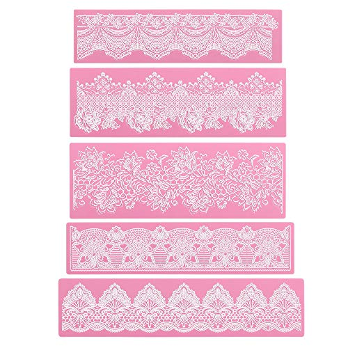 Silicone Lace Molds, Beasea 5pcs Fondant Cake Decorating Tools Lace Decoration Mat Flower Pattern Molds Sugar Craft Tools - Pink (Cake Decorating Fondant Molds)