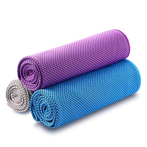 Cooling Towel Pack of 3 Sports Towels SKL Stay Cool Towel for Sports, Swimming, Women, Yoga, Workout, Athletes, Gym, Neck, Golf, Travel 40 inch x 12 inch
