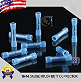 1000k fog lights - 1000 Pack 16-14 Gauge Wire Butt Connectors Blue Nylon 16-14 AWG Crimping Terminals USA