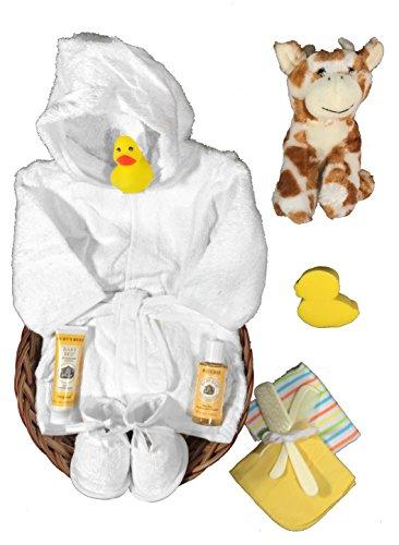 Giraffe Gift Basket for a Gender Neutral Baby Shower - 11 Piece Gift Set by Sunshine Gift Baskets (New Baby Basket)